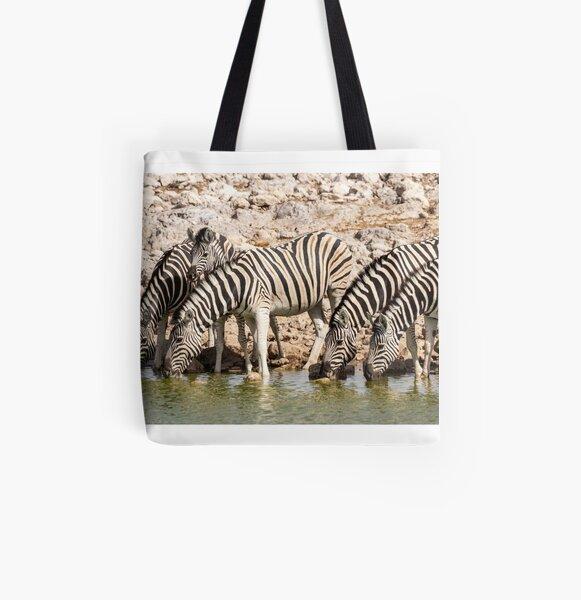 Zebras at the waterhole, Etosha National Park, Namibia All Over Print Tote Bag