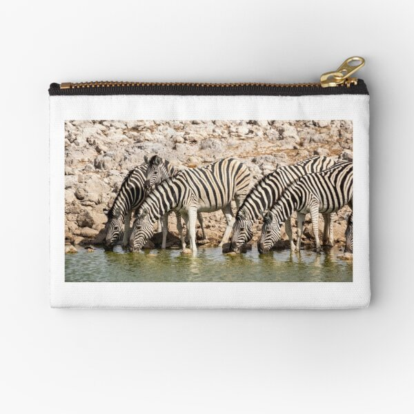 Zebras at the waterhole, Etosha National Park, Namibia Zipper Pouch