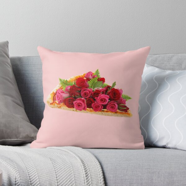 Rose pizza Throw Pillow