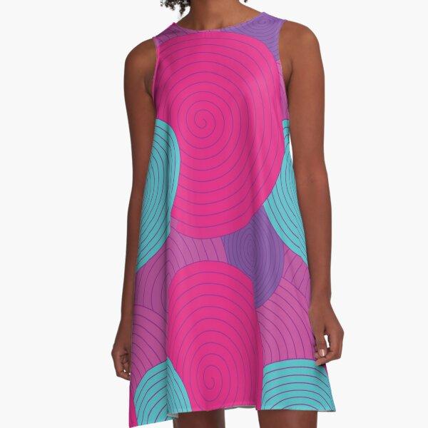 Pink, Purple and Blue Swirls A-Line Dress