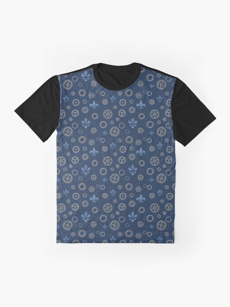 Alternate view of Flur de Cog - Iron and Blue Graphic T-Shirt