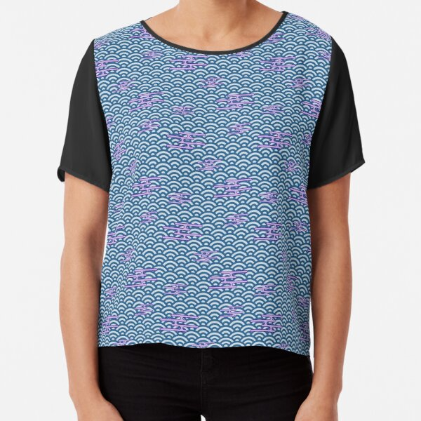 Japanese Clouds on Waves - Blue with Lavender Chiffon Top