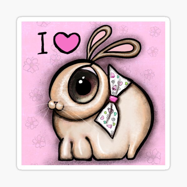 Big eyes Bunny with tie bow on pink background Sticker