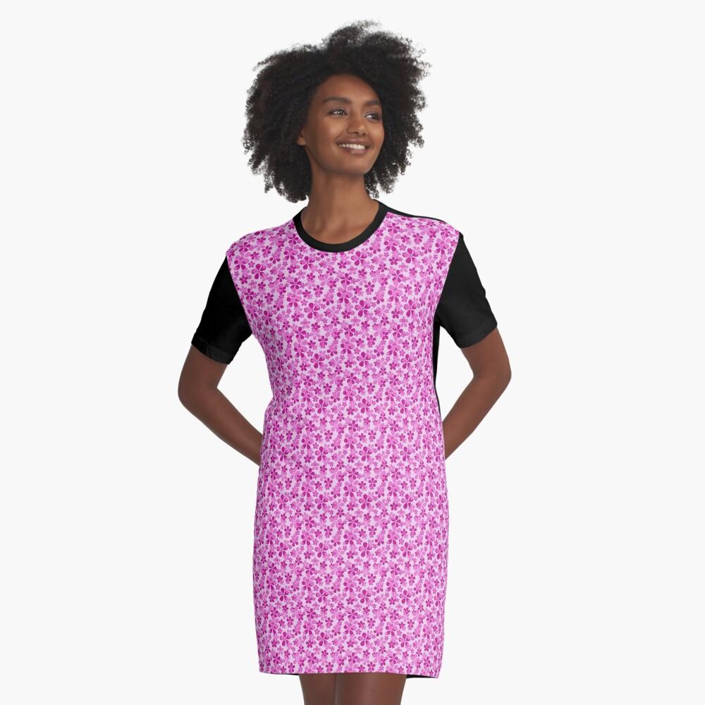 Sakura Chevron in Pink Graphic T-Shirt Dress