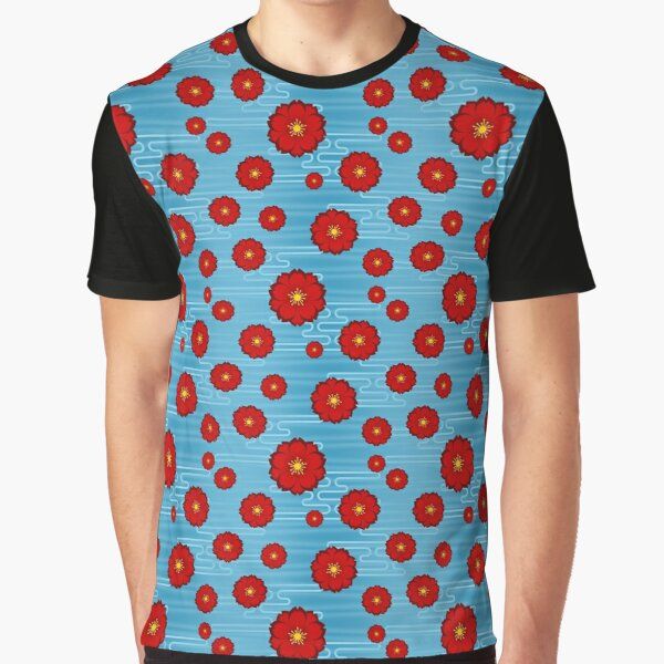 Cloudy Sakura in Red on Sky Graphic T-Shirt