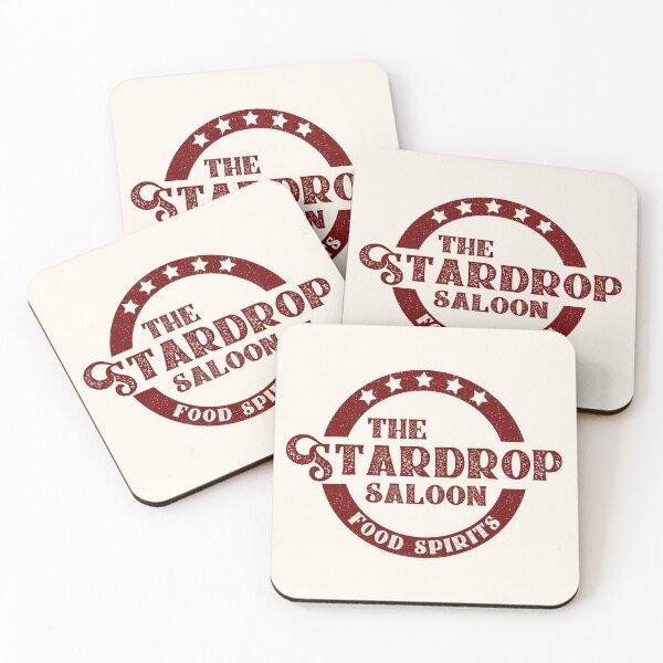 The Stardrop Saloon Pub Logo | Stardew Valley | Burgundy Logo Coasters (Set of 4)