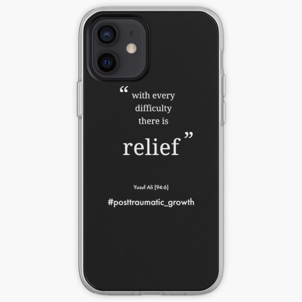 With every difficulty there is relief mental heath quote on black iPhone Soft Case