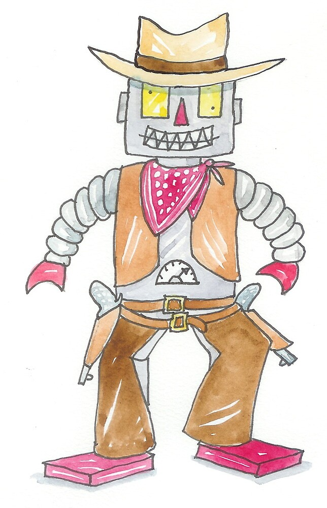 Cowbot  Cowboy Robot  by AndyLanhamArt