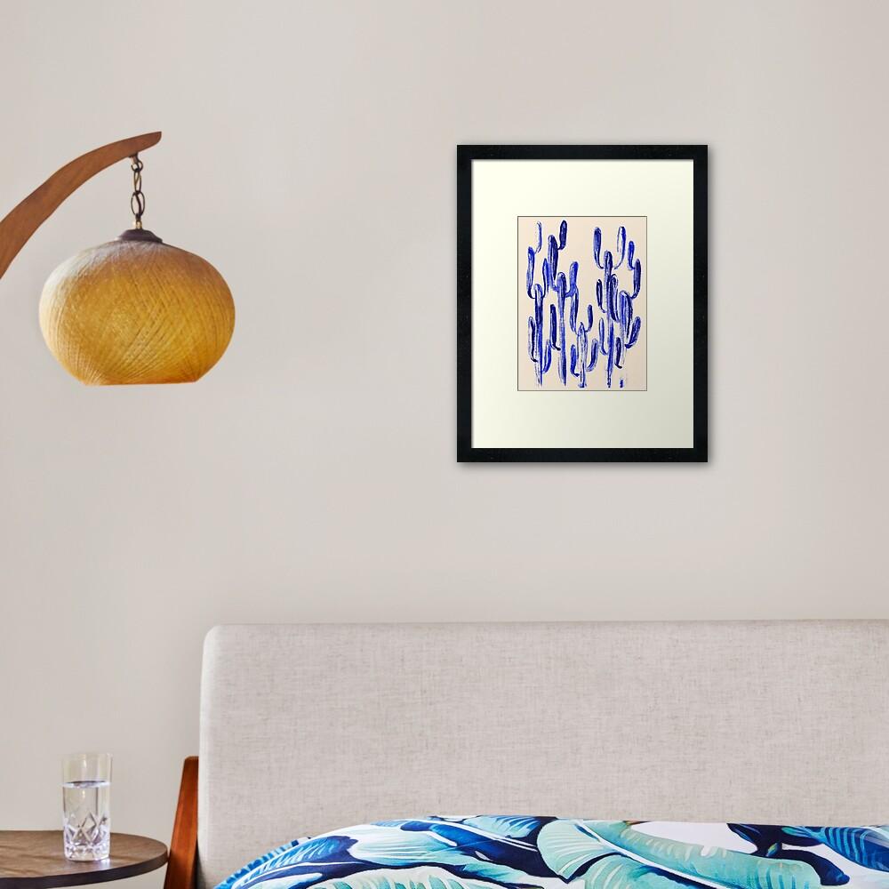 Indigo Kaktus Gerahmter Kunstdruck