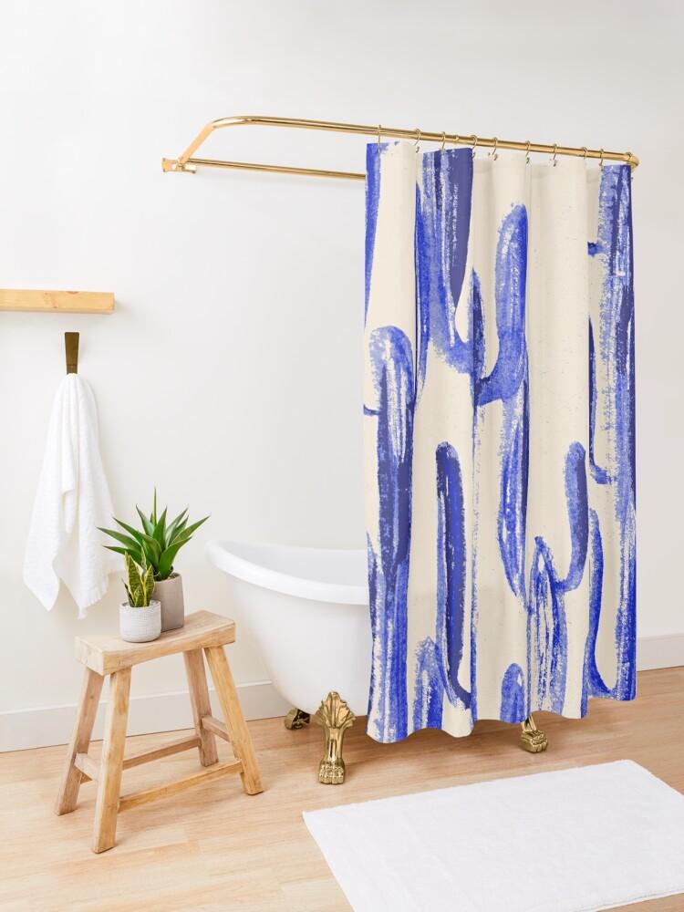 Alternative Ansicht von Indigo Kaktus Duschvorhang