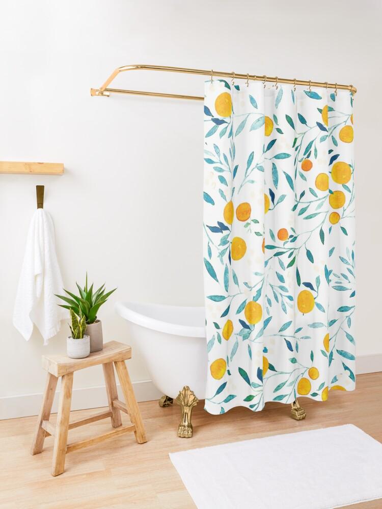 Alternate view of Orange Tree Shower Curtain