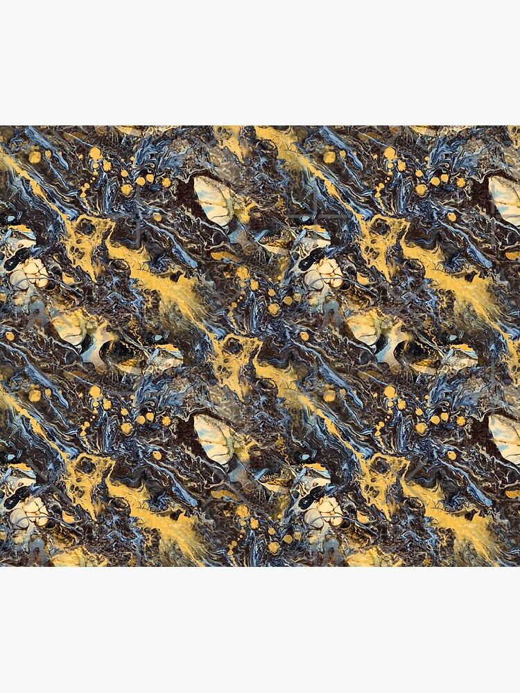 Fluid painting marble pouring image in gold and black by nobelbunt