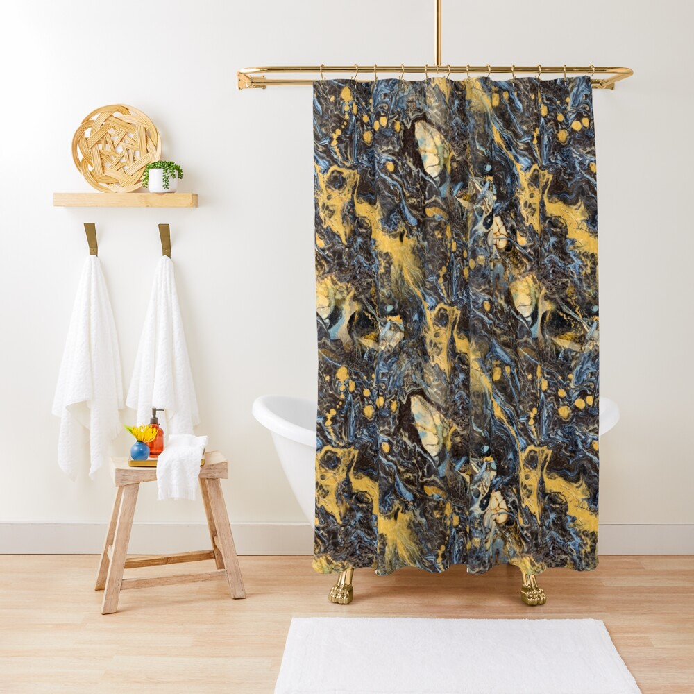 Fluid painting marble pouring image in gold and black Shower Curtain