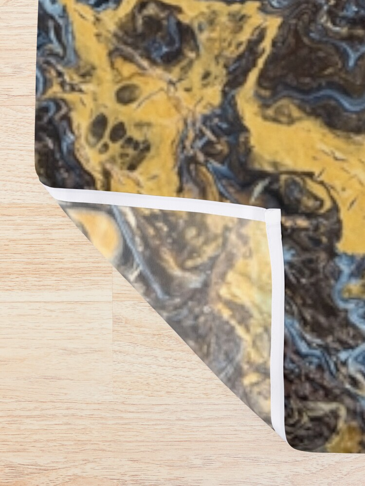 Alternate view of Fluid painting marble pouring image in gold and black Shower Curtain