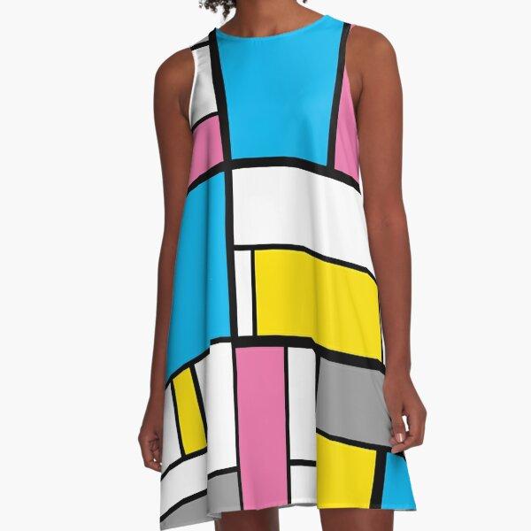 New Mondrian Modern Art Graphic A-Line Dress