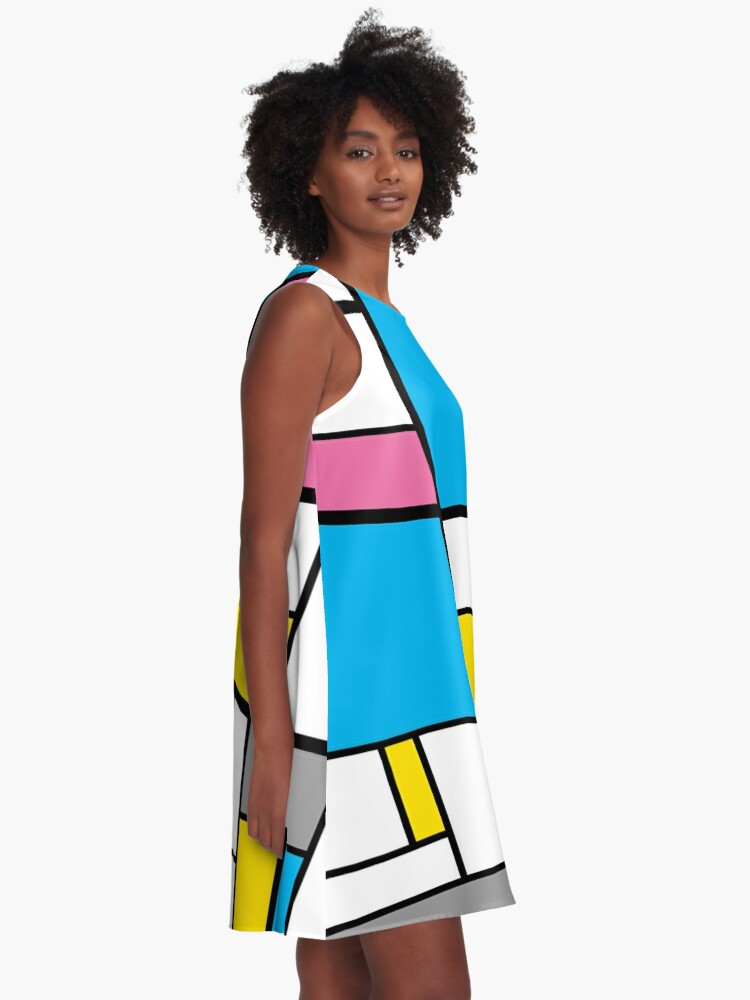 Alternate view of New Mondrian Modern Art Graphic A-Line Dress
