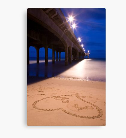 Love heart in the sand at Boscombe Pier Canvas Print
