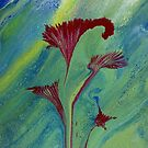Proud Lily: fluid acrylic pour painting; red flower art by kerravonsen