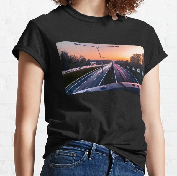 Light trail and sunset Classic T-Shirt