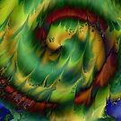 Sleeping Dragon: fluid acrylic pour painting digital art; fantasy painting by kerravonsen