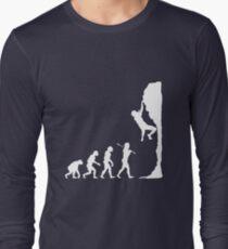 Rock climbing evolution geek funny nerd Long Sleeve T-Shirt