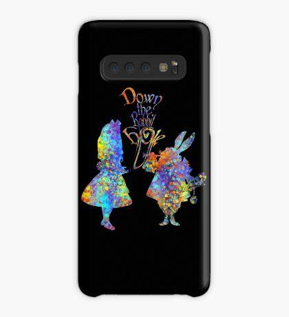 Salpicadura de acuarela colorida de Alicia en el país de las maravillas y conejo blanco Funda/vinilo para Samsung Galaxy