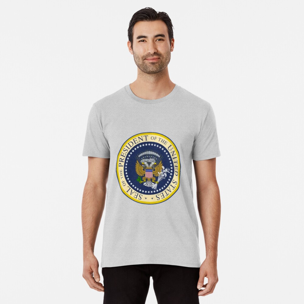 Fake Presidential Seal Tee With Golf Clubs, 45 Es Un Titre, and Russian Eagle.  Premium T-Shirt