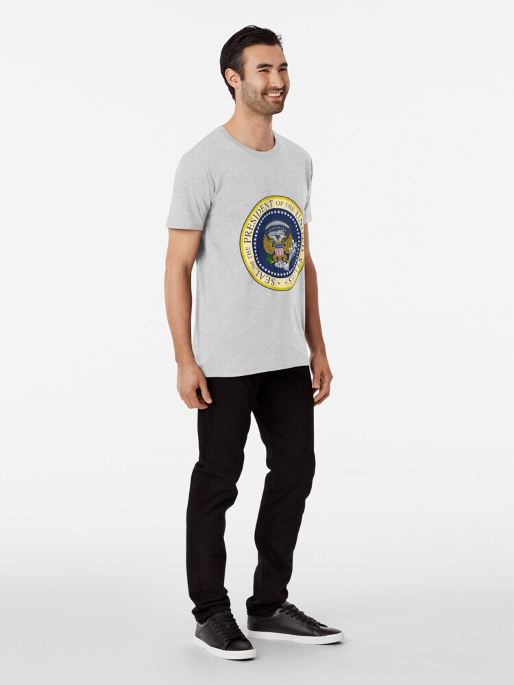Alternate view of  Fake Presidential Seal Tee With Golf Clubs, 45 Es Un Titre, and Russian Eagle.  Premium T-Shirt