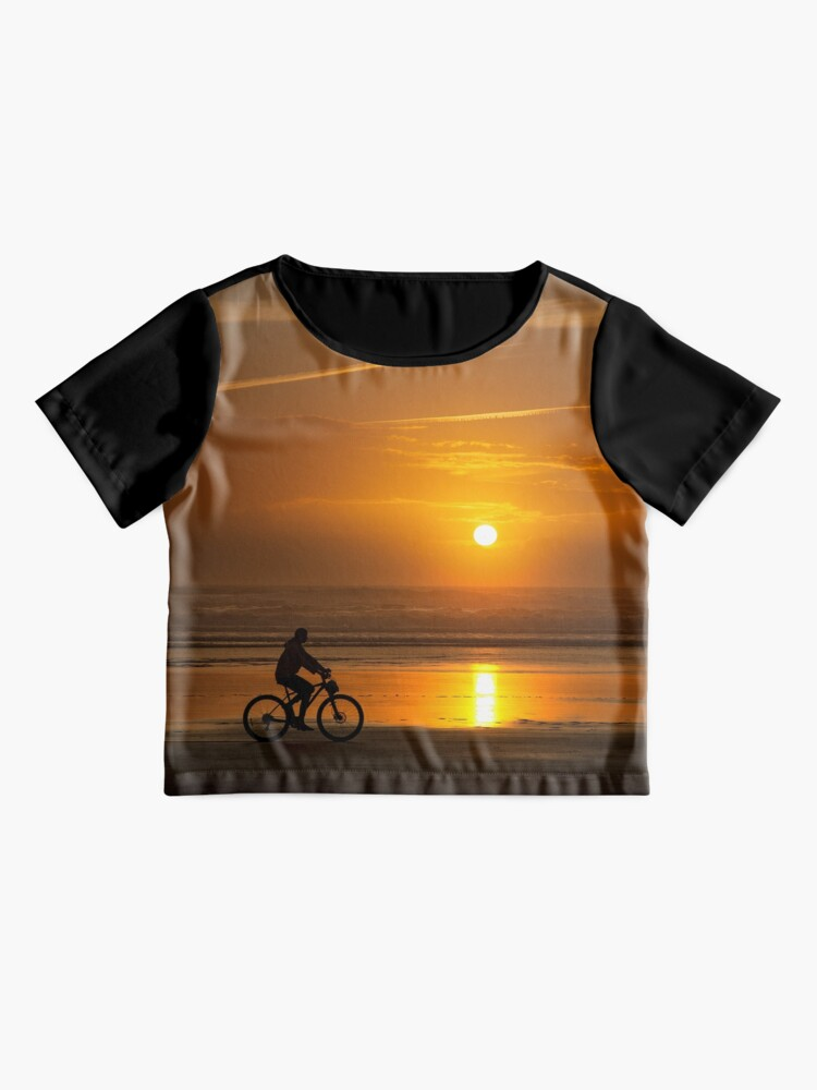 Alternate view of Silhouette of a cyclist along Cannon Beach Oregon Chiffon Top