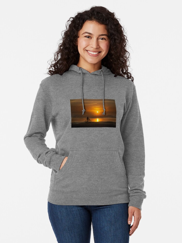 Alternate view of Silhouette of a cyclist along Cannon Beach Oregon Lightweight Hoodie