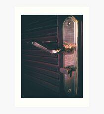Door knob and door plate detail Art Print