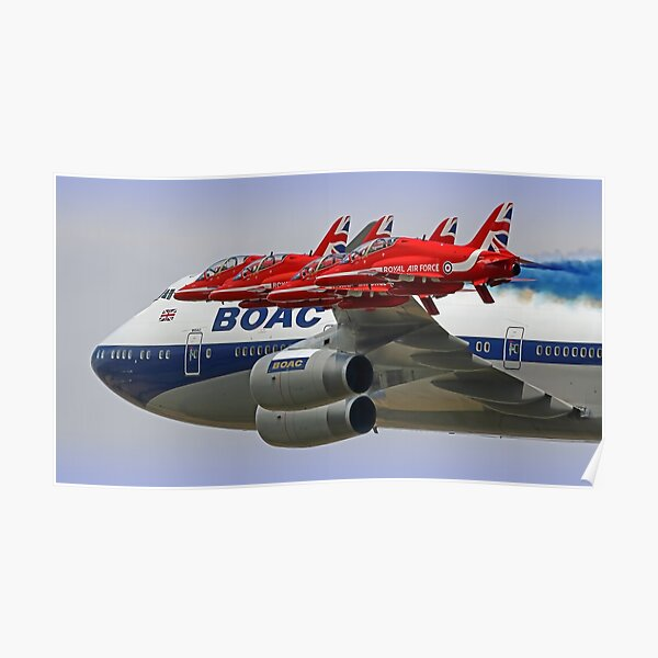 BOAC  747 with The Red Arrows Flypast - 3 Poster