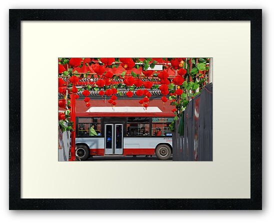 Beijing - Bus and red lanterns by Jean-Luc Rollier