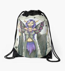 Purple and Black Winged Fairy Drawstring Bag