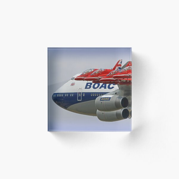 BOAC  747 with The Red Arrows Flypast - 3 Acrylic Block