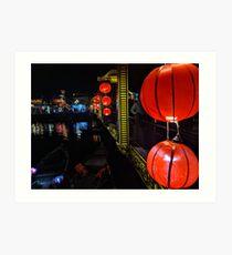 Red paper lanterns on a bridge Art Print