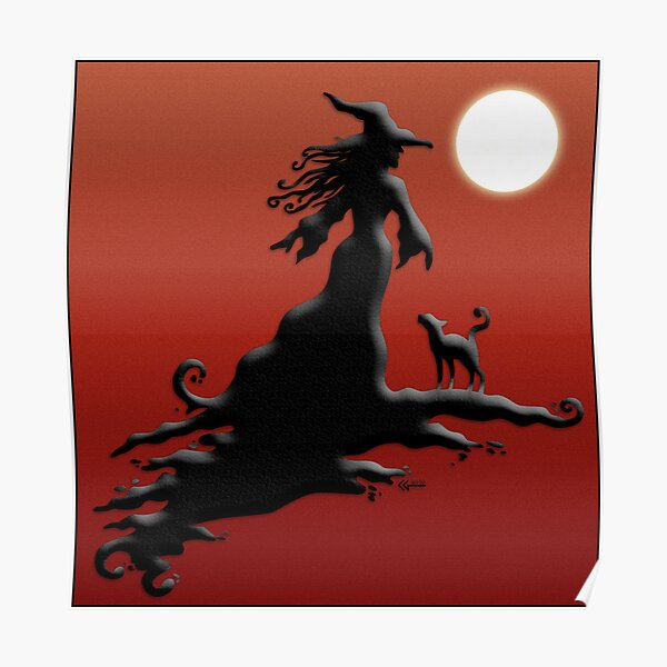 Witch's Silhouette - Prints and Cards Poster