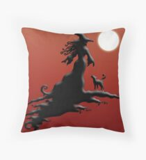 Witch's Silhouette - Prints and Cards Throw Pillow