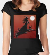 Witch's Silhouette - Clothing and Stickers Women's Fitted Scoop T-Shirt