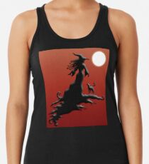 Witch's Silhouette - Clothing and Stickers Racerback Tank Top