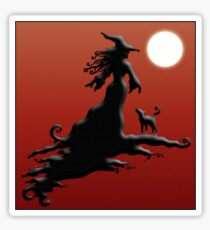 Witch's Silhouette - Clothing and Stickers Sticker