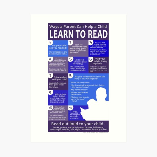 Ways a Parent Can Help a Child Learn to Read Art Print