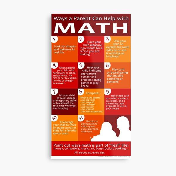 Ways a Parent Can Help with Math Metal Print
