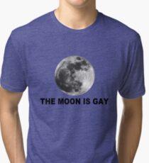 The moon is gay geek funny nerd Tri-blend T-Shirt