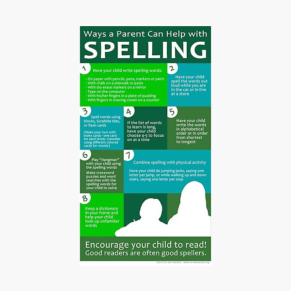 Ways a Parent Can Help with Spelling Photographic Print