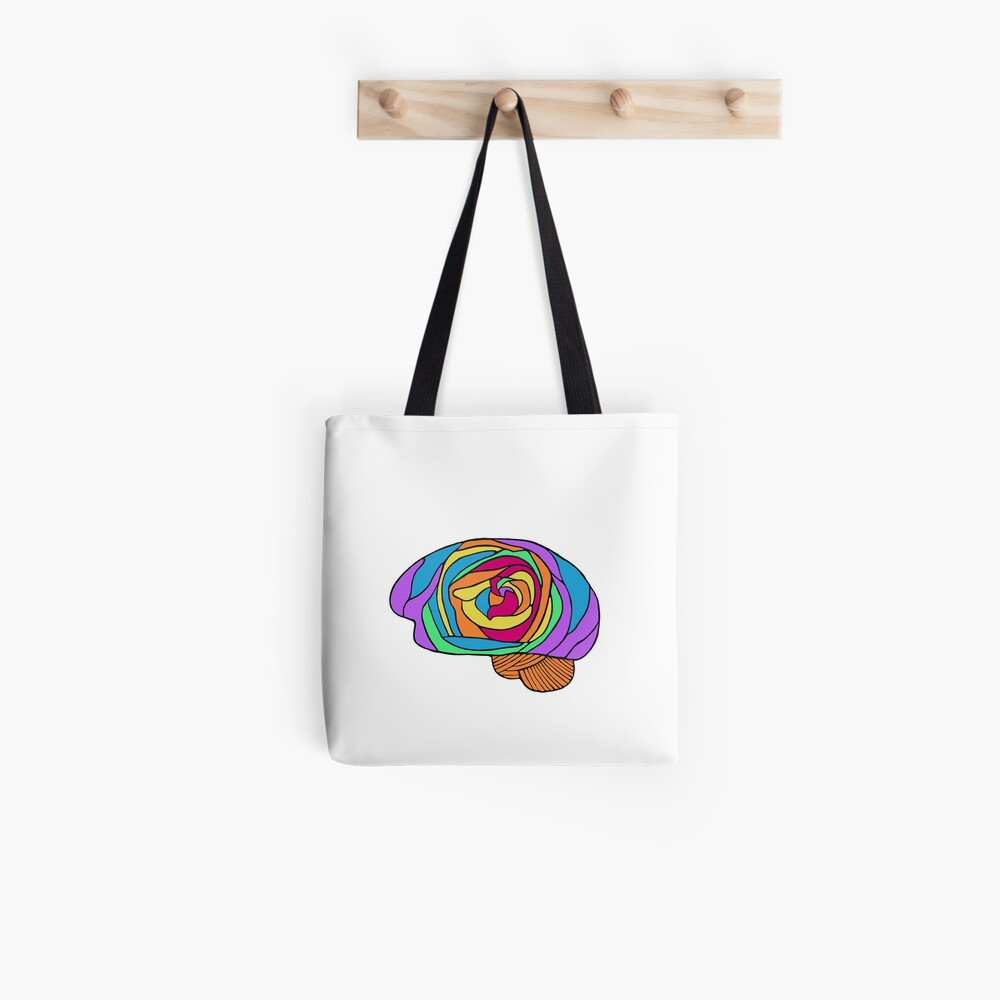 Rainbow Rose Brain - Digital Art Flower Brain in Rainbow colors Tote Bag
