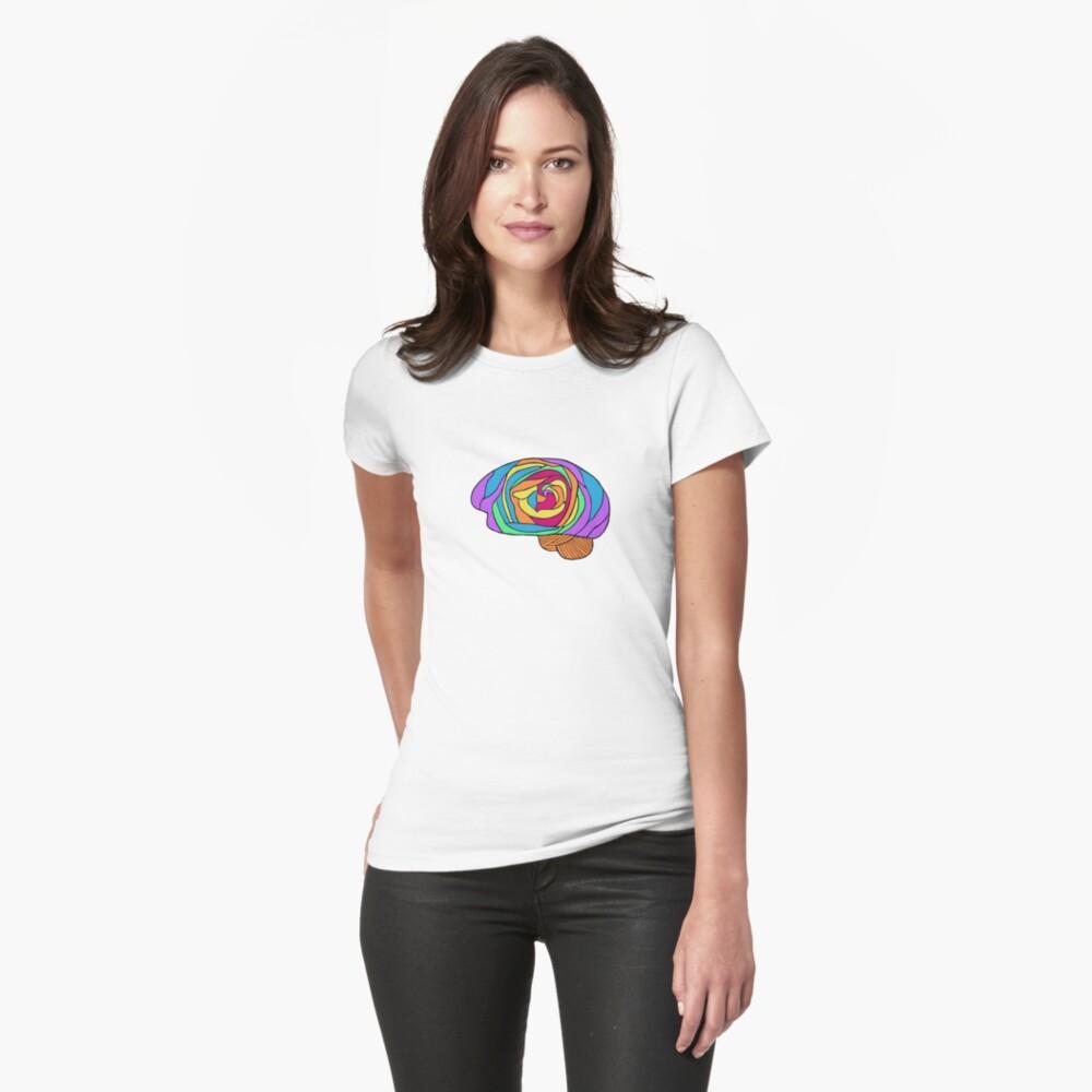 Rainbow Rose Brain - Digital Art Flower Brain in Rainbow colors Fitted T-Shirt