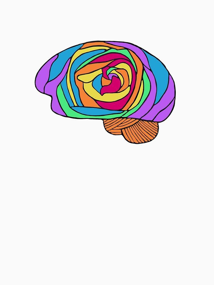 Rainbow Rose Brain - Digital Art Flower Brain in Rainbow colors by Laurabund