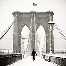 Brooklyn Bridge and Snow by Randy  LeMoine
