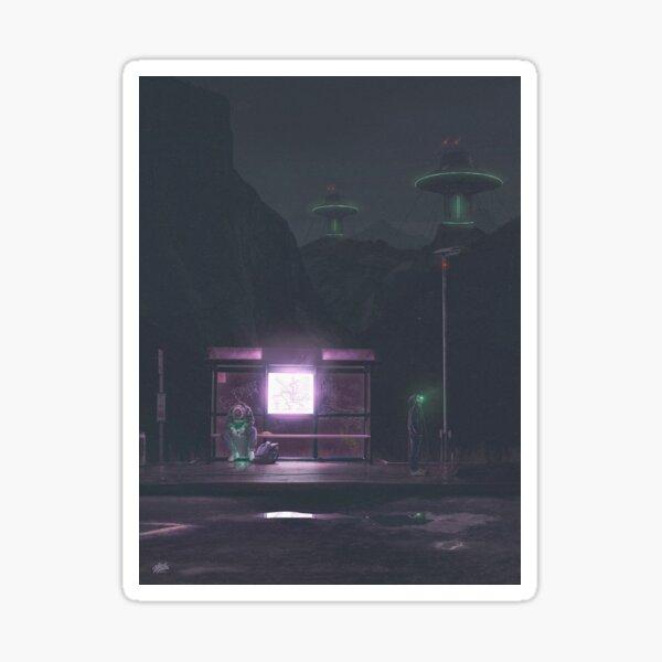 Cyberpunk Bus Stop 2055 Sticker